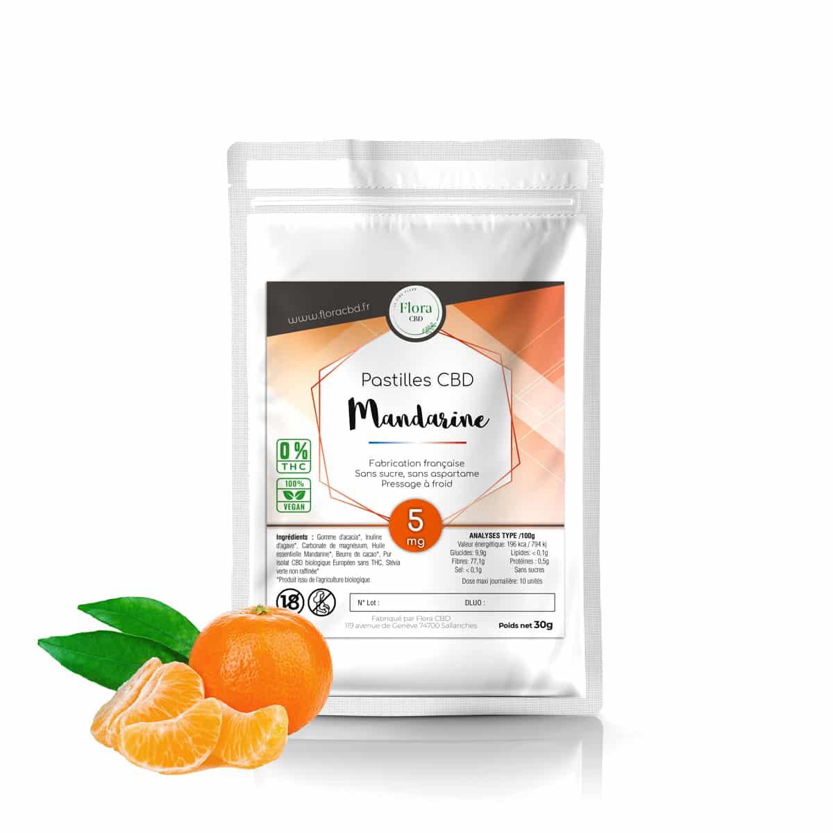 Pastilles CBD 5mg Mandarine - Flora CBD
