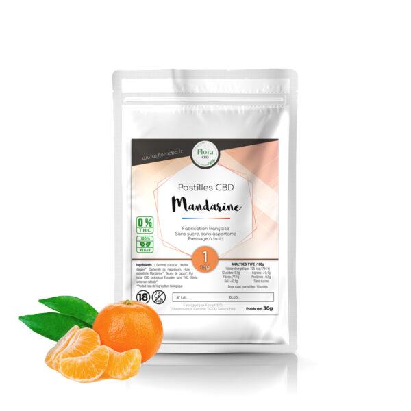 Pastilles CBD 1mg Mandarine - Flora CBD