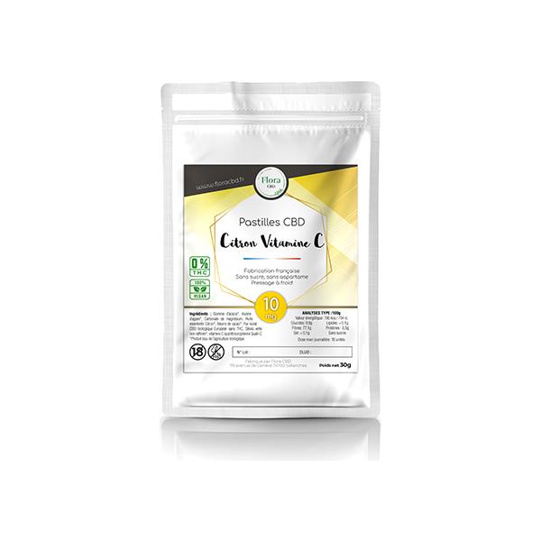 Huile de CBD - Pastilles citron vitamine C 10 mg - Flora CBD